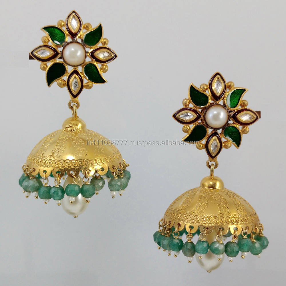 2016 New 925 Silver big jhumka earring 18k gold plated engraved design JHE 507