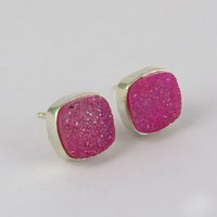Baby Pink !! Titanium Druzy 925 Sterling Silver Studs Earring, 925 Silver Earring For Beautiful Girls, Gift Silver Jewelry