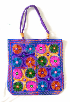 Handmade Kutchi embroidered Shoulder bag-indian designer handbags-fashion handbags for women-Wholesale kutch embroidery handbag