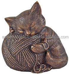 Brass Pet Cremation Urns With Sleeping Cat Urn