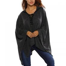 Spandex & Polyester Cloak Women Long Sleeve Blouses different size for choice & loose Solid black 72342
