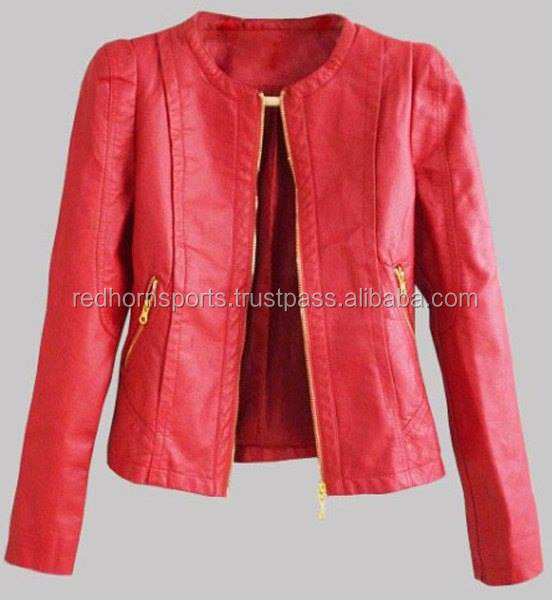 Red Fashion Leather Jacket for Womens, High Quality PU Leather Jacket