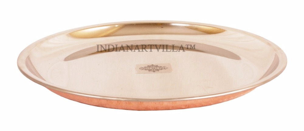 IndianArtVilla Handmade Steel Copper Serving Plate for Serveware Restaurant Hotel Home Kitchen Ware Gift Item