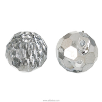 Acrylic Shank Button Scrapbooking Ball Silvery white Single Hole 11.0mm Dia, 100 PCs