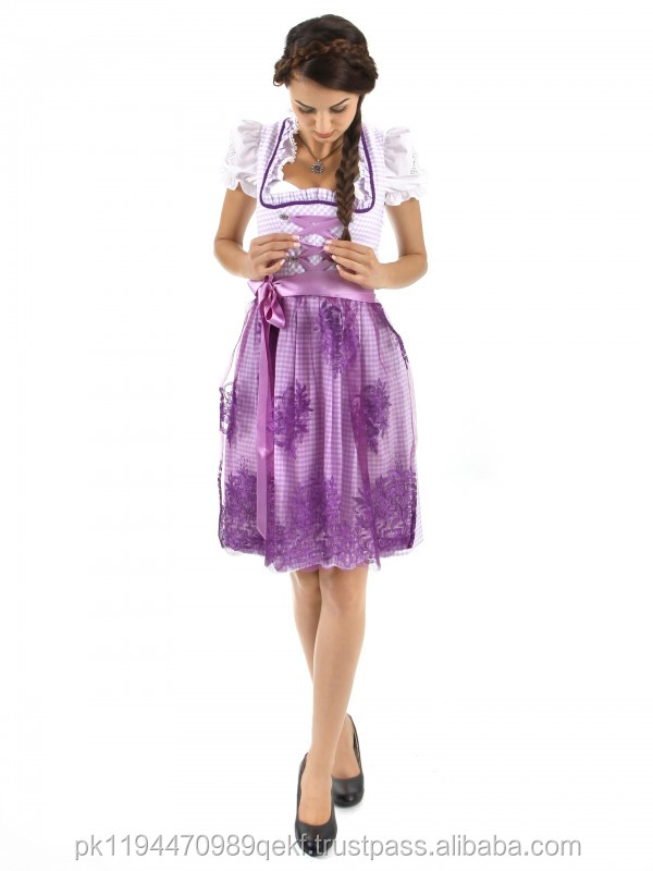 Mini Dirndl purple exclusive / oktoberfest / casual dress / tachten dirndl