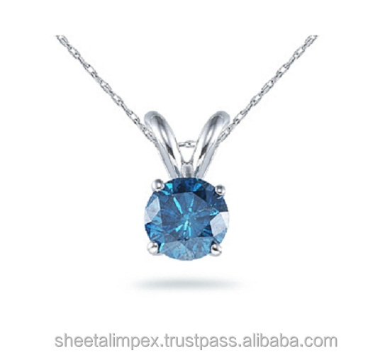 Certified 0.60 Cts SI1 Clarity Solitaire Real Blue Diamonds Pendant 14Kt White Gold at best Offer Price