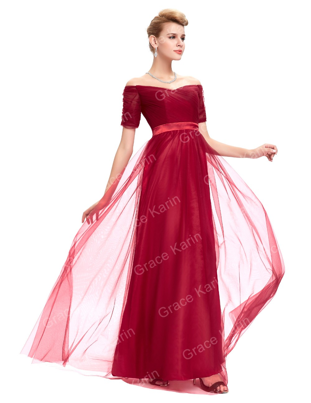 Grace Karin Sexy Off Shoulder Short Sleeves Soft Tulle Dark Red Long Prom Dress GK000077-2