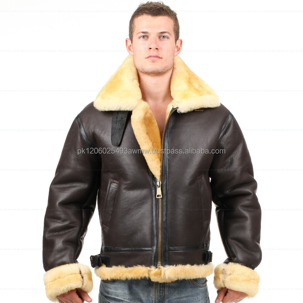 Custom Fur Collar Zip Front extrme winter Leather Jacket men/pilot style leather winter jacket for men