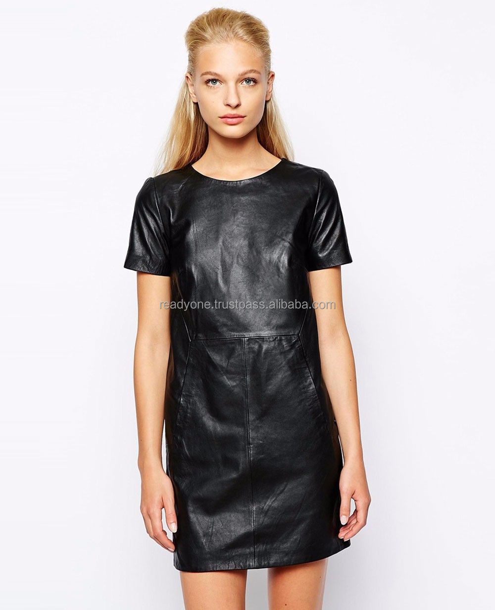 EUROPE STYLE NEW FASHION WOMEN'S DRESSES WITH LEATHER POCKET
