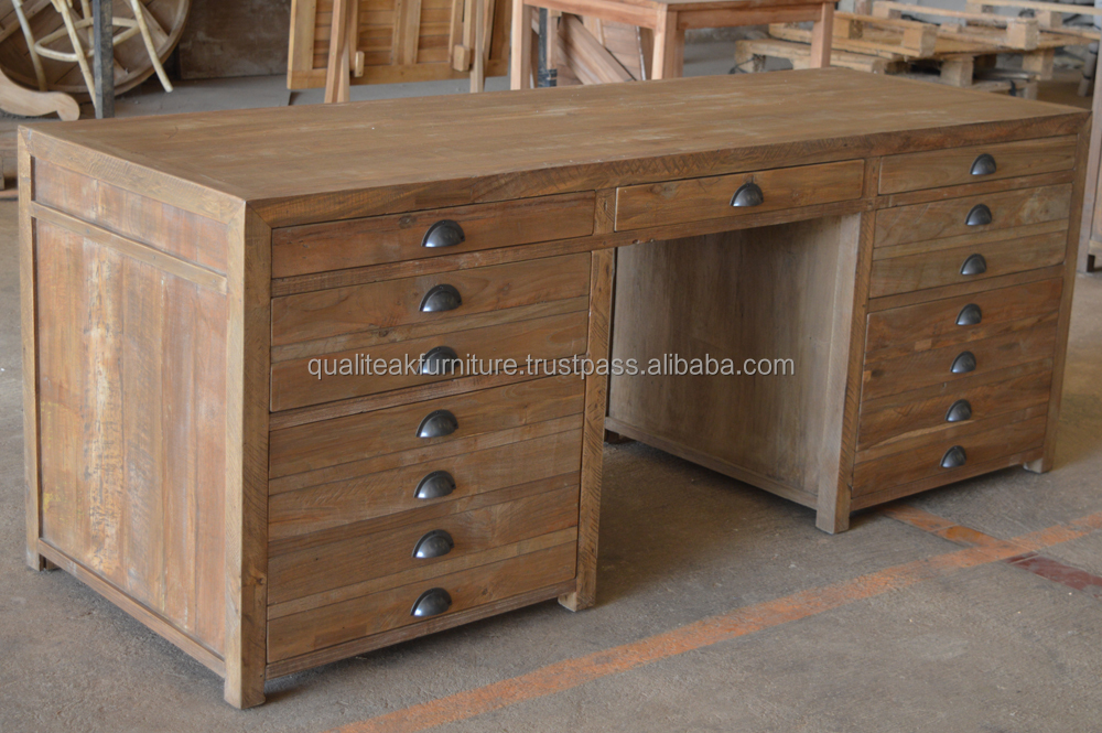 Reclaimed teak solid wood office writing desk with drawers