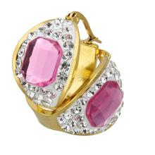 Stainless Steel Hoop Earring with Rhinestone Clay Pave & Glass gold color plated plating faceted 10x22x25mm 1126926