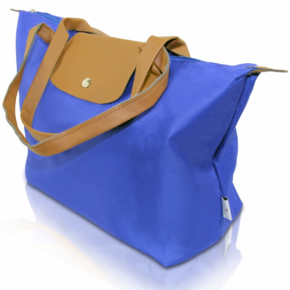 Foldable Shopping Tote in Royal Blue with Tan Straps