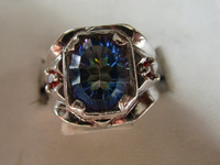 MENS MYSTIC SEA BLUE TOPAZ WITH STUNNING ORANGE GENUINE SAPPHIRES STERLING RING