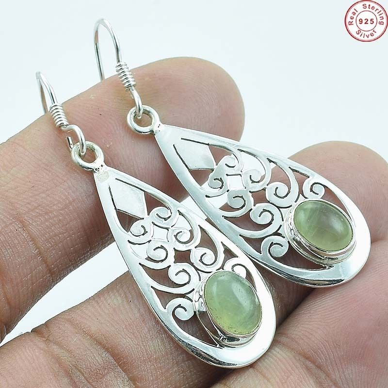 Solid 925 Sterling Silver Natural Prehnite Gemstone Earring Jewellery Handmade silver jewelry