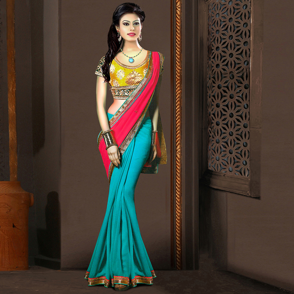 Surat tex Sky Blue Colored Georgette Plain with Lace Saree With Blouse Pice- BS3118