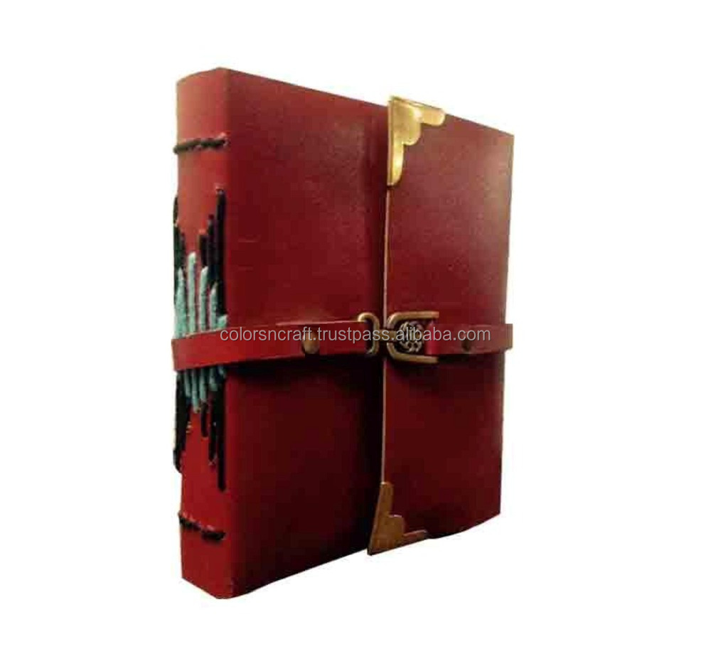 Colorsncraft Genuine Leather Red Brass Look Buckle With Belt To Close Notebook Of 100 Pages