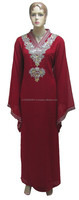 Red Abaya Georgette Kaftan For Pretty Women With Embroidery On Neck