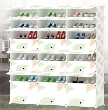 customizable colorful DIY plastic shoe rack with doors