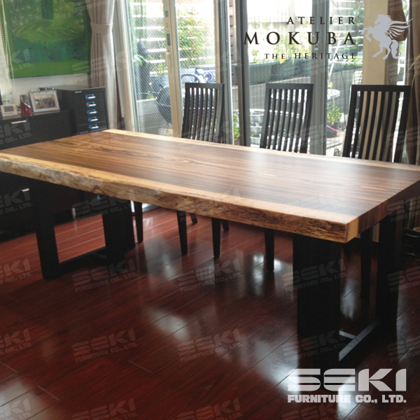 Solid wood dining table Zebrawood Made in Japan