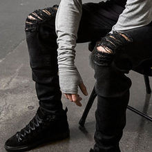 Distressed Denim Black Jeans pants / Hip Hop / Stylish High Quality Denim Pants For Men