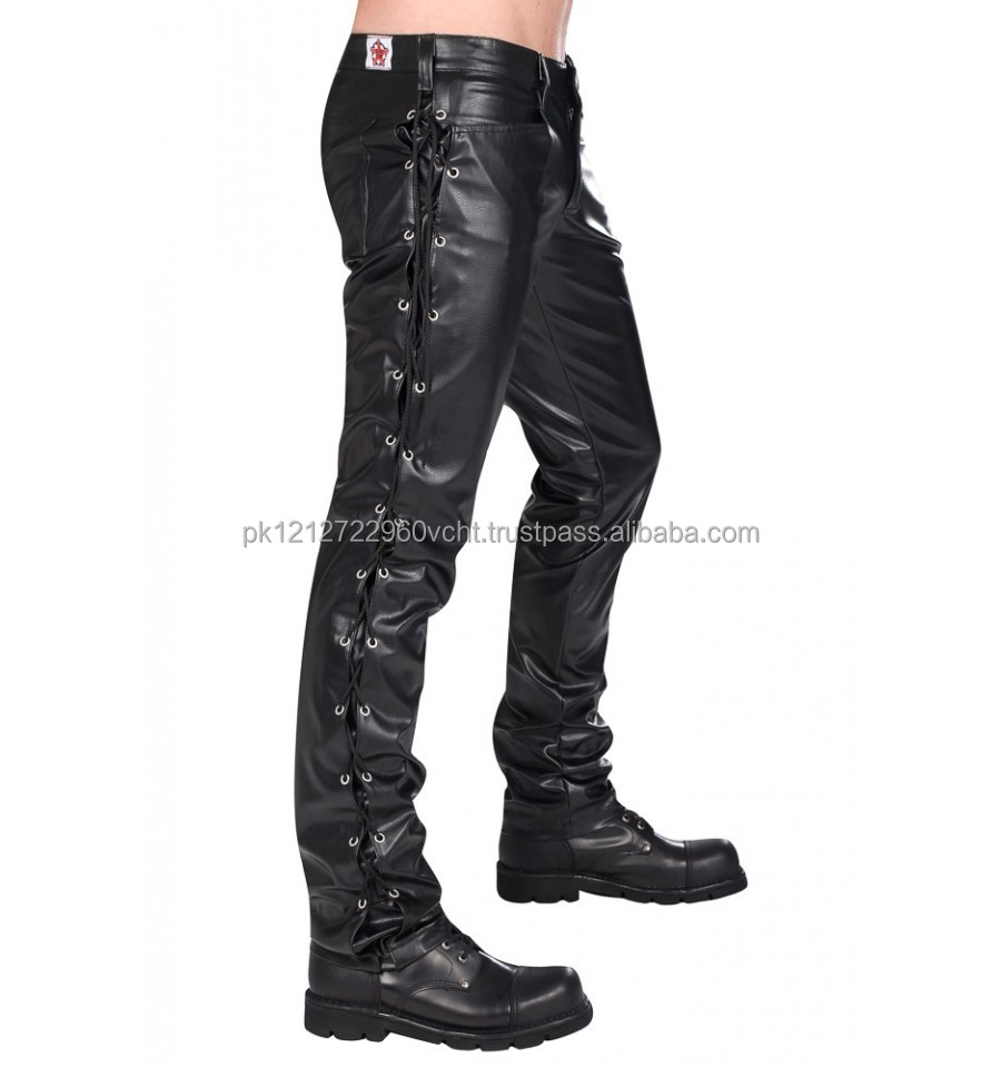 Gothic Black Pistol loop leather pants for mens by Flex Future