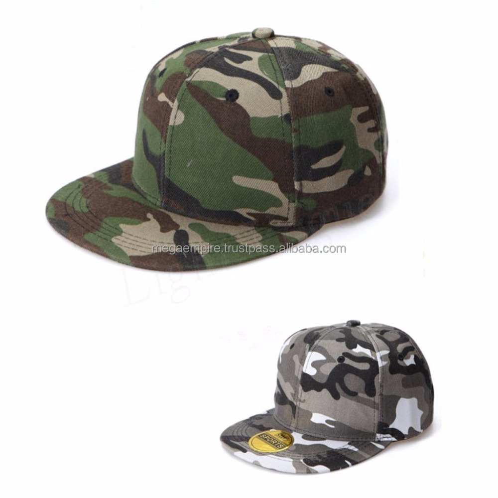 Unisex Fashion Camo Snap Backs, Camouflage Baseball Cap, Hip Hop Hat Flat Brim Snapback