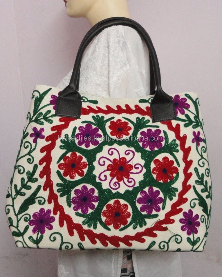 KTHB-40 Ethnic Designer Jaipuri Handbags/ Shoulder Bags For Ladies / Girls Fine Silk Zardozi Embroidery on Cotton