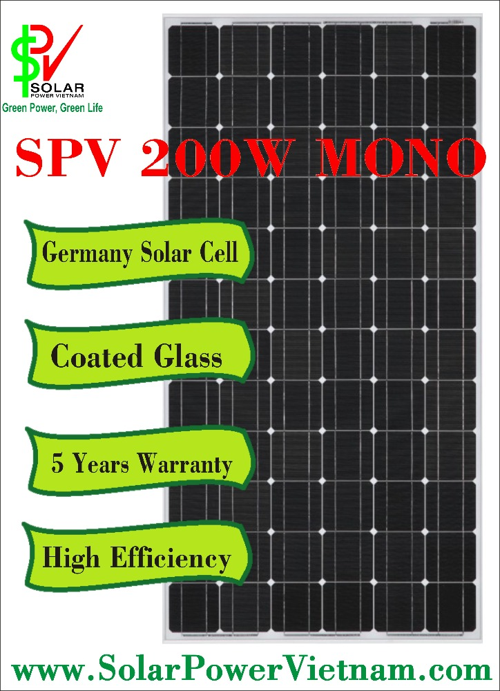 SPV 200w Monocrystalline Solar Panel with tempered glass for grid-tie solar system certificated by TUV