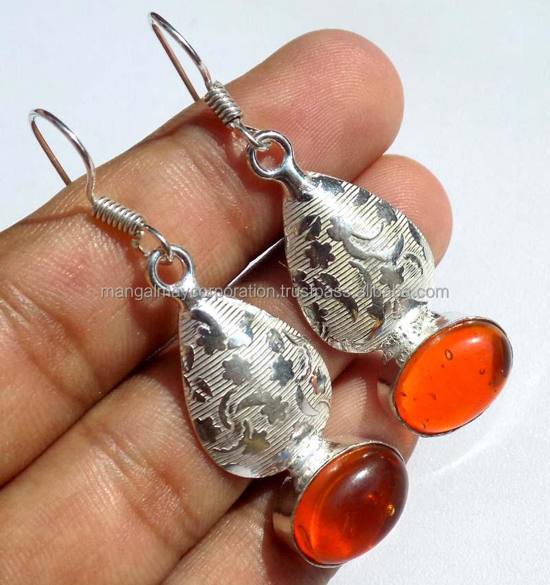 hammered onyx gemstone silver plated earring attractive jewelry latest desing jewelry
