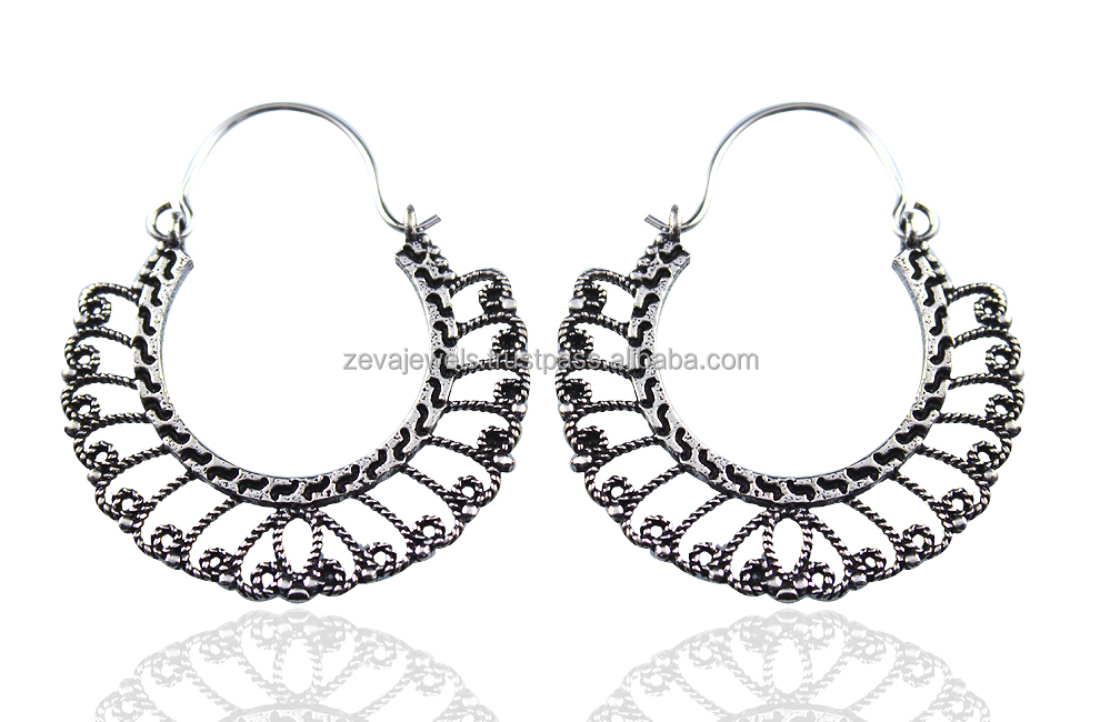 Latest Wholesale Bulk Filigree Fashion Antique Oxidized Silver Plated Womens Girls Hoop Earring Costume Jewelry 1277