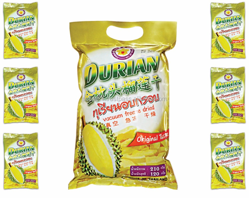 Dry Fruit Export to US : FD durian monthong 210 packs ( 6 small packs inside ) from Thailand [ Thai Ao Chi Brand ]