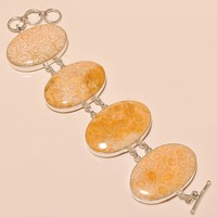 Wholesale Fossil Coral Oval Gemstone 925 Silver Charm Bracelet Gift For Her Jewelry