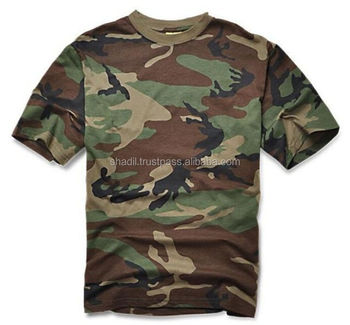 Woodland Camo Military T-Shirt Camoflage US Army Men's