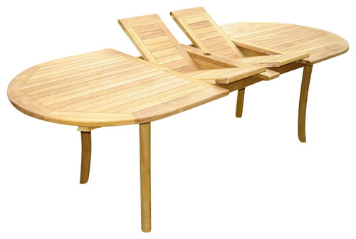 TEAK OVAL DOUBLE EXTEND TABLE JEPARA INDONESIA