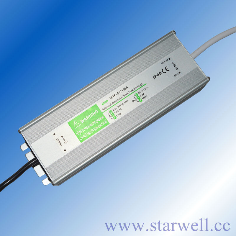 CE ROHS Listed 12V 100W IP67 waterproof constant voltage led driver CV mode