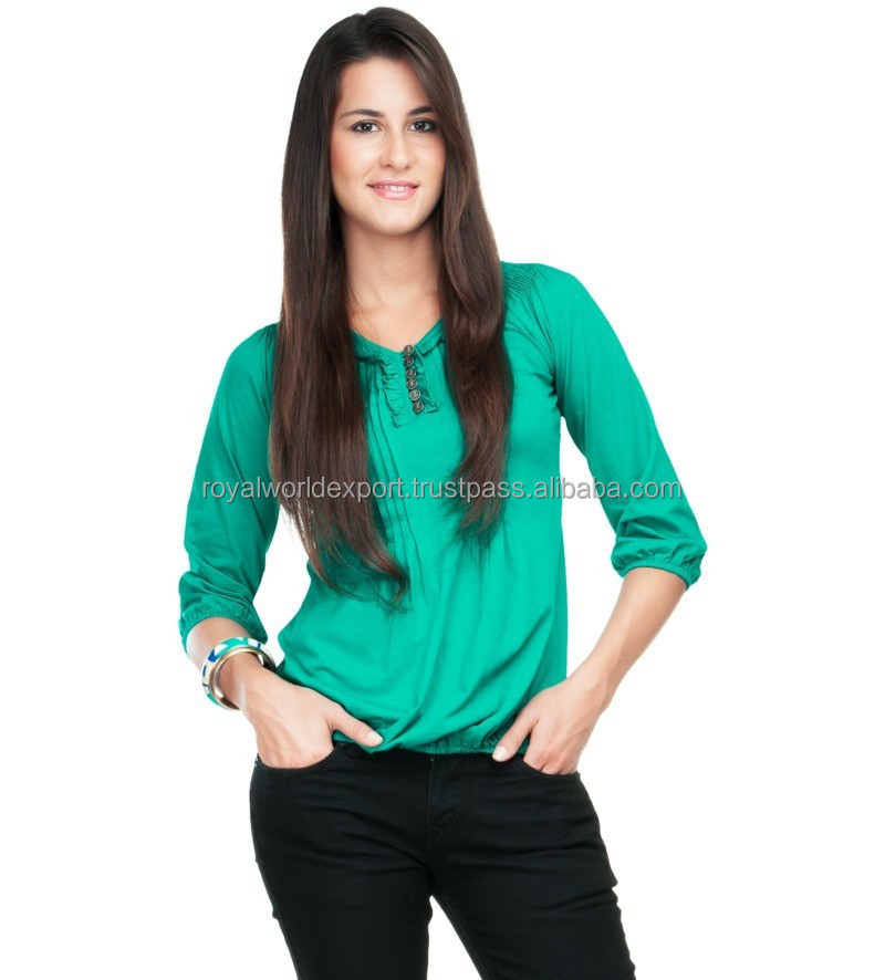 Sea Green Pintucks And Ruffle Top Oem factory direct light weight chiffon frill collar blouse with front pintuck