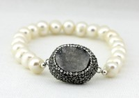 Druzy jewellery,Druzy Pearl Stone Bracelet,Turkish hand made jewelry