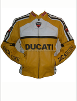 Yellow Ducati Ducati Ce Armour Motorcycle Biker Protective Premium Quality Cow Grain Leather Jacket
