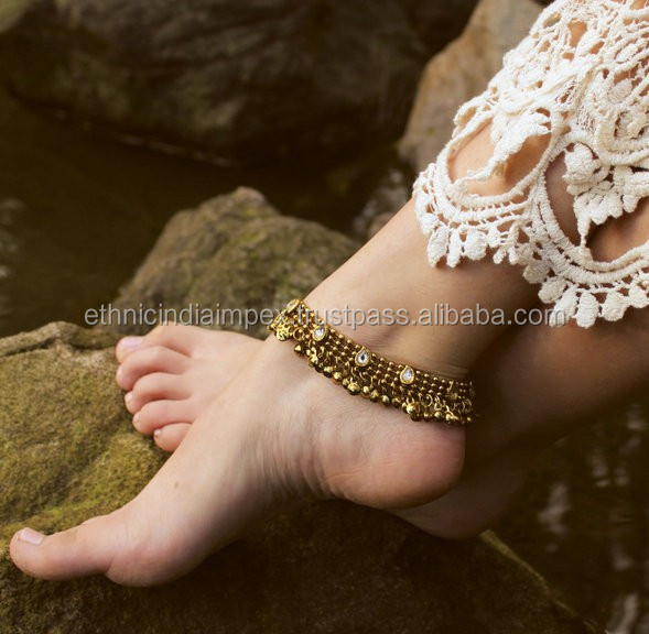 Antique gold TONE ANKLET PAYAL pair foot chain