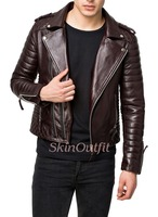 Black custom motorcycle leather jackets for men