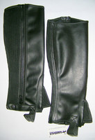 Leather horse riding chaps in SYNTHECTIC LEATHER BLACK - S, M, L, XL