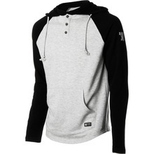 Stylish Long Sleeves Black & Heather Grey Buttoned Up Pullover Hoodie