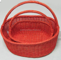 big basket with handle, storage for fruits, vegetables 100% handmade, natural material