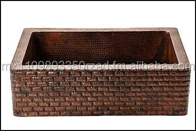 Brick Design Handmade Farmhouse 33x22x9 Kitchen Copper Sink 16 Guage Copper