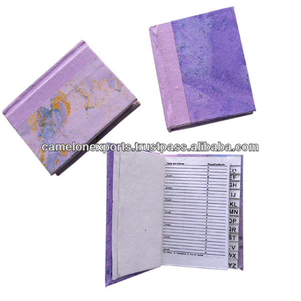 Indian manufactured wood/acid free recycled cotton handmade paper eco friendly lovely gift marble printed notebook.