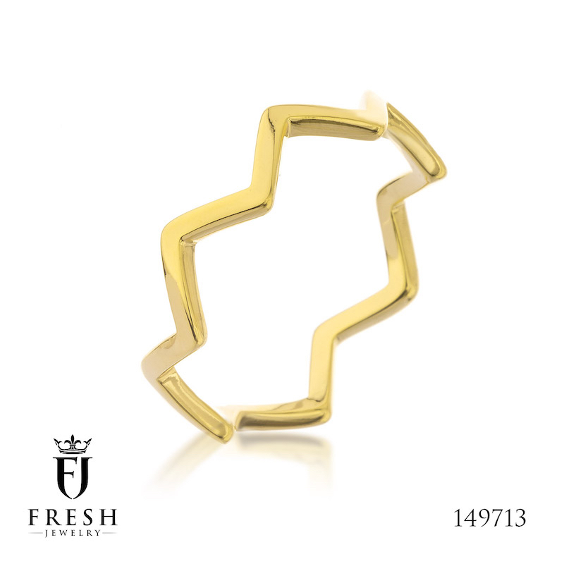 149713 - Zigzag Smooth Ring Fashion Gold Plated Ring - Wholesale Gold Jewellery, Gold Jewellery Manufacturer, CZ Cubic Zirco