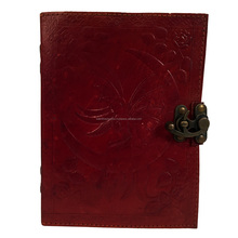 MOON FAIRY Wicca Handmade Leather Journal Book of Shadows Diary 2 C lock Book