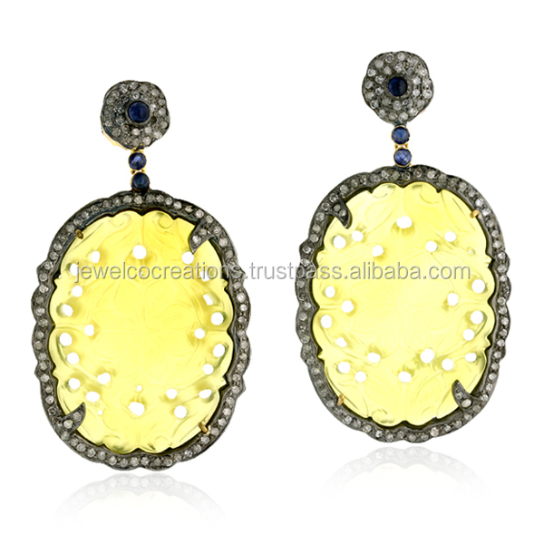 yellow agate carving blue sapphire natural gemstone pave diamond 14k gold 925 sterling earring jewelry