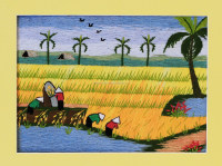Embroidery painting from Vietnam, hand- embroideried on fabric base picture, Vietnamese countryside painting