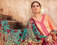 Multi Shaded Cotton Silk Palazzo Churidar Suit